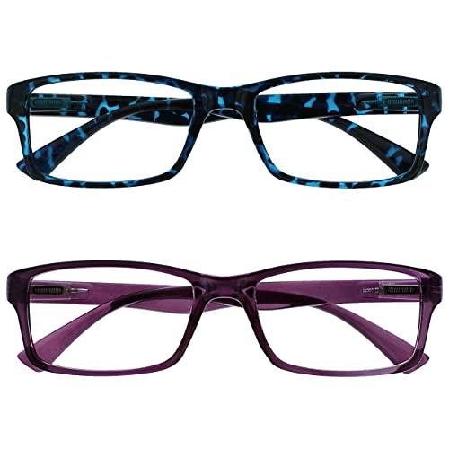 Uv Reader Gafas De Lectura Azul Carey Y Púrpura Lectores Valor Pack 2 Hombres Mujeres Uvr2092Bl_P +2,00 2 Unidades 70 g