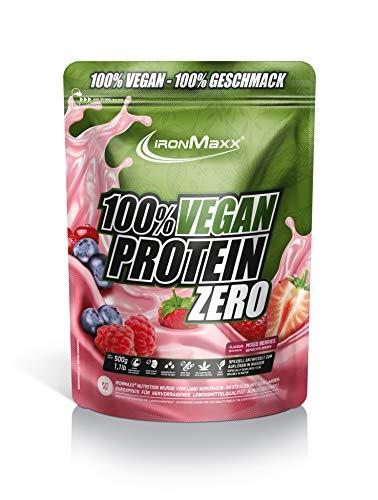 IronMaxx Vegan Protein Zero – veganes Proteinpulver aus hochwertigen, pflanzlichen Proteinquellen - 4 Komponenten Eiweißpulver ohne Soja und zuckerfrei – Mixed Berries – 1 x 500g
