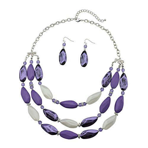 Bocar 3 Layer Beads Statement Necklace Earring for Women Jewelry Set (NK-10077-purple)