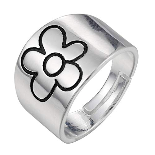 Ushiny Anillo abierto de plata con flor tallada, anillo de flor vintage, anillo ajustable, para mujeres y niñas