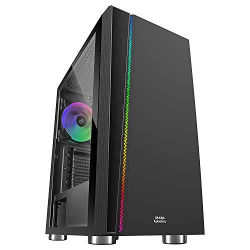Mars Gaming MC8, Case PC ATX, Ventola ARGB 120mm, Finestra Laterale, Nero