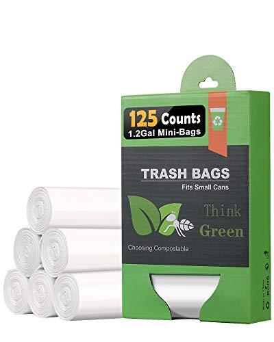 エコ ゴミ袋 4.5-5L125枚 分解可能なごみ袋 消臭バッグ 半透明 ポリ袋 生ゴミ袋 台所家庭用白ゴミ袋便利 ポリ袋 ごみ処理袋 、家庭用ミニゴミ箱、おむつ、うんち処理袋に対応でき (ホワイト, 35*40CM)