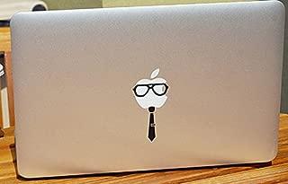 Geek Glasses and Tie Apple Logo Black Vinyl Car Sticker Symbol Silhouette Keypad Track Pad Decal Laptop Skin Ipad Macbook Window Truck Motorcycle