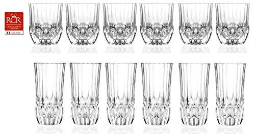 RCR Cristalleria Italiana Crystal Glass Drinkware Set (DOF Whiskey (12 oz) & Highball Tumbler (13.5 oz) - 12 Piece)