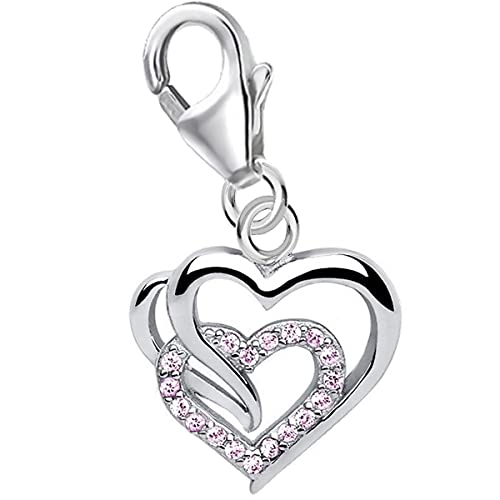 Colgante de filigrana en forma de corazón con mosquetón para pulsera de abalorios de plata de ley 925 con circonita rosa