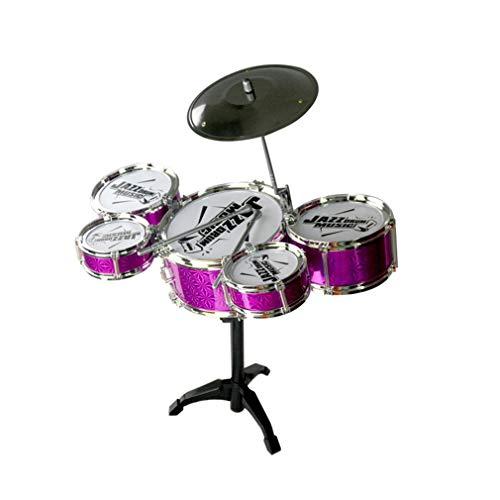 KoelrMsd Juguete de Instrumentos Musicales para niños, Kit de batería de Jazz de simulación de 5 Tambores con Baquetas, Juguete Musical Educativo para niños, Color Aleatorio
