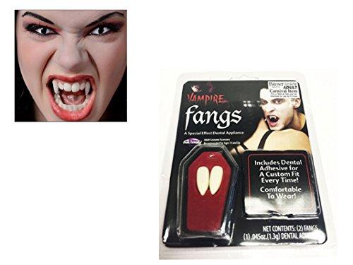 Vampire Halloween Canines Dents Avec Mastic Adhésif Accessoire Déguisement Dracula Casquettes