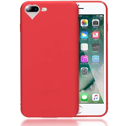 NALIA Cuore Custodia compatibile con iPhone 7 Plus / 8 Plus, Protezione Ultra-Slim Case Cover Protettiva Morbido Cellulare in Silicone Gel, Gomma Telefono Bumper Sottile, Colore:Rosso