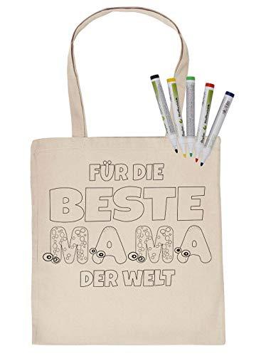 Tas om zelf te beschilderen stoffen tas en 5 stuks stiften set voor de beste mama ter wereld kinderen motief inkleuren stofkleurstiften Kids schilderen op foto's