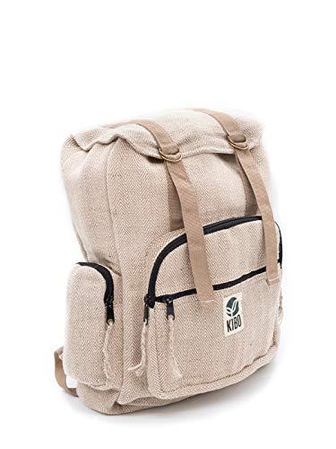 Kibo Hanf Rucksack Hemp Backpack KRS007, handgefertigt, groß, Boho/Hippie-Style