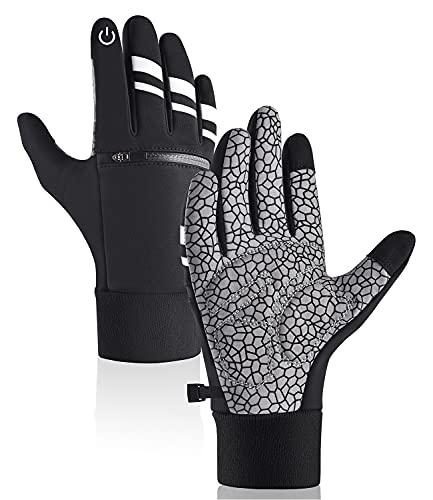 Guanti da ciclismo invernali super caldi, imbottitura ammortizzante e touch screen, guanti da uomo e donna, antivento, impermeabili, per ciclismo, guida, corsa (S)