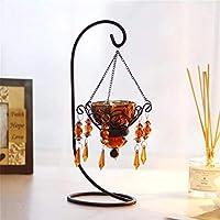LXLXCS キャンドル クネールホルダークリエイティブクリエイティブクリスタルクリスタルクリスタルクリスタルコーデレスリステレライト、記念日の結婚式のお祝いテーブルの装飾キャンドルホルダー(色:銀) (色 : Amber, サイズ : 1)