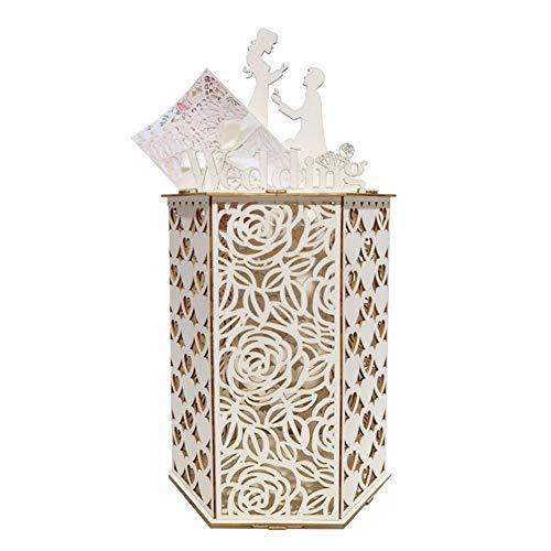 WERTAZ - Scatola per biglietti di nozze, in legno, fai da te, per matrimoni, feste di nozze, decorazioni, Not null, Come mostrato in foto., Rosa
