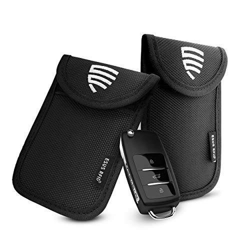 ESUS® 2X Keyless Go Schutz Autoschlüssel TÜV Geprüft Schlüsseletui Diebstahlschutz RFID Schutz Keyless Oxford Autoschlüssel Tasche Keyless Go - Gratis RFID Guide
