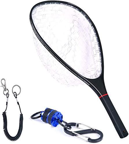 MAXIMUMCATCH Maxcatch Carbon Fiber Fly Fishing Landing Net Trout Rubber Net with Magnetic Net Release