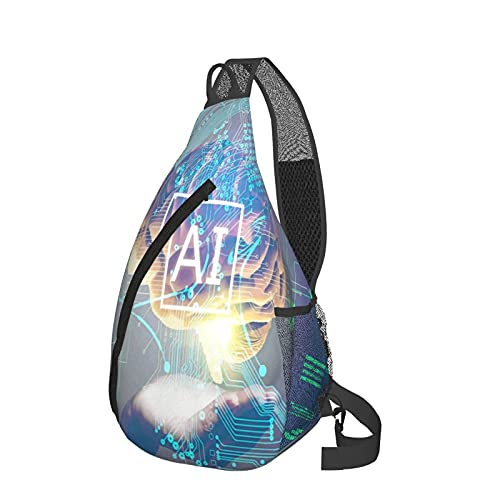 Sling Zaino Intelligenza Artificiale Petto Crossbody Daypack Leggero Sling Pack Casual Fanny Pack Viaggio Messenger Borse Per Escursionismo Campeggio