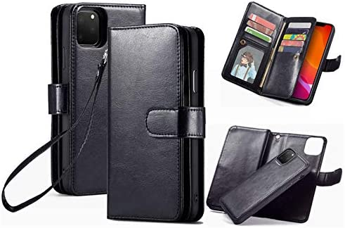 iPhone 11 Wallet Case,HYSJY PU Leather Detachable Magnetic Women with 9 Card Slots Wrist Strap Removable Shockproof Slim Cover for iPhone 11 6.1 inch (9-Black, iPhone 11)