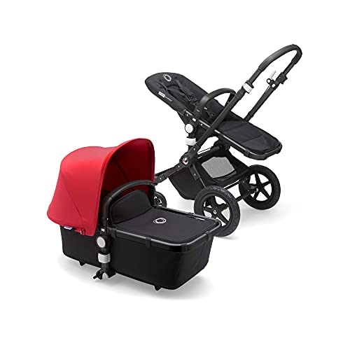 Bugaboo Cameleon 3 Plus - Cochecito de bebé 2 en 1, estructura negra y capota roja
