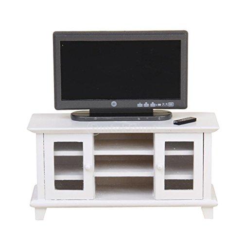 D DOLITY 1:12 Casa de Muñeca Miniatura Modelo de TV Televisión con Control Remoto + Gabinete de Dollhouse - Blanco + Negro