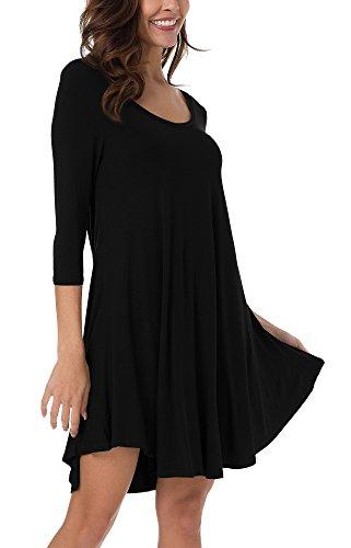 Urban GoCo Donna Casual Tunica Camicetta con Maniche 3/4 Mini Vestito Maglietta Abito Orlare Irregolare Nero S