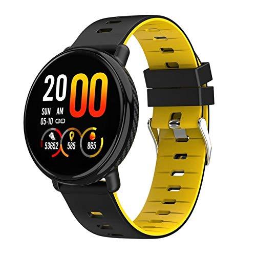 UIEMMY Reloj Inteligente Hombres Mujeres Impermeable Pulsera táctil Completa Ritmo cardíaco Rastreador de Ejercicios Reloj Inteligente Reloj Deportivo Smartwatch para iOS Android, Amarillo