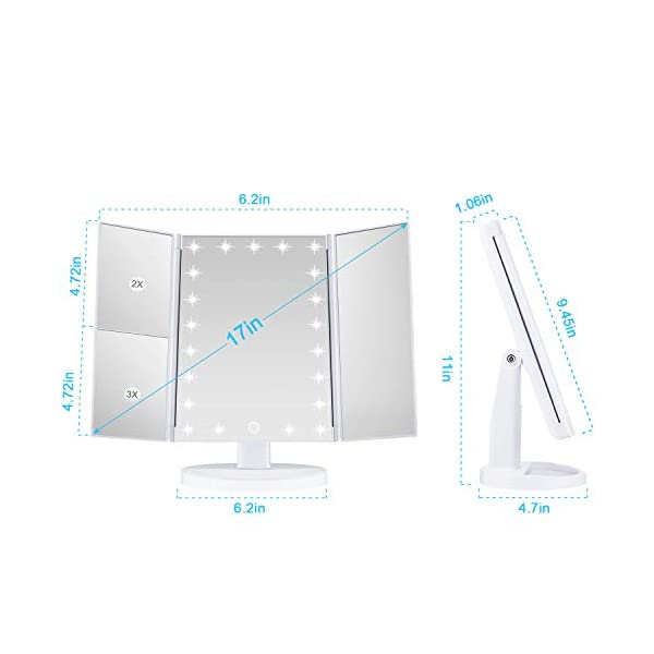 Beauty Shopping Wondruz Makeup Mirror Vanity Mirror with Lights, 1x 2X 3X Magnification, Lighted