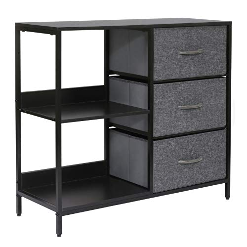 Kamiler Storage Dresser with 3 Drawers, Storage Cabinet with 2 Open Shelves, Chest of Drawer for Bedroom,Office, Entryway, Sturdy Steel Frame, Wood Top(Gray)