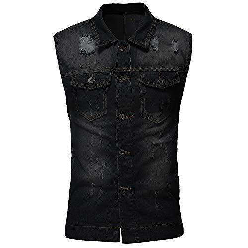 Mens Hoodies F_Gotal Men's Casual Button-Down Denim Vest Trucker Jean Jacket Vest Sleeveless Jeans Vest Jacket with Rivets Outwear