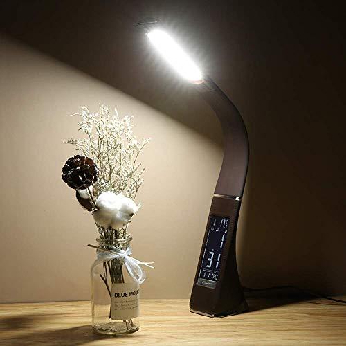 LLLKKK LED Smart Touch Eye Study Lámpara de mesa Lámpara de mesa Material ABS Temperatura Reloj despertador Calendario de tiempo Tres engranajes atenuación ángulo de ajuste marrón