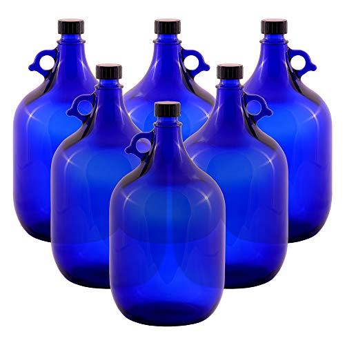 6 botellas de cristal de 5 litros, color azul, con asa
