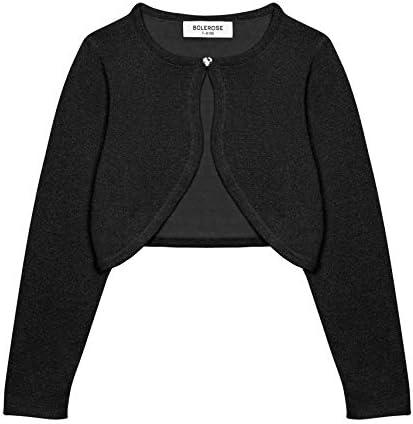 Bolerose Girls Long Sleeve Sparkle Cardigan Childrens Kids Bolero Shrug Black 5 6 YRS product image
