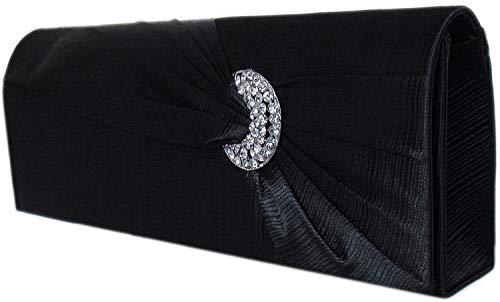 Diva Mode Damen Abendtasche Clutch Handtasche,Satin Schwarz