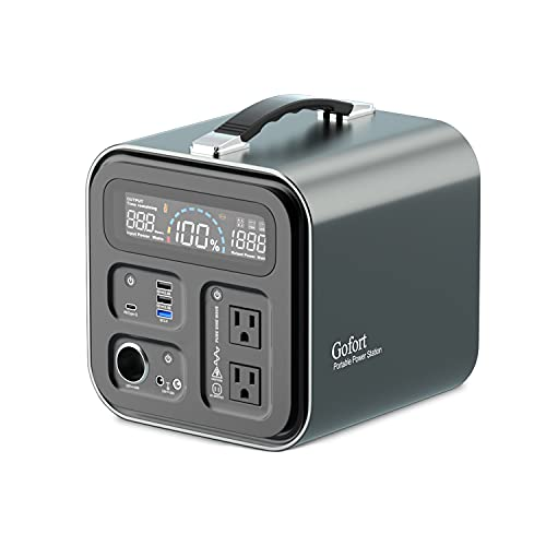 GOFORT Portable Power Station, 550Wh Solar Generator With 600W (Peak 1000W) 110V AC Outlets, QC3.0 & TypeC 45W, SOS Flashlight, Backup Power Lithium Battery Pack For Outdoor RV/Van Camping CPAP Home Emergency