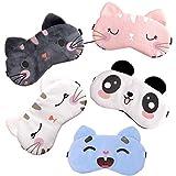 Cute Animal Sleep Mask- 5 Pack Soft Plush Blindfold Sleeping Mask Funny Eye Cover for Women Girls Kids Travel Nap Night Sleeping Games
