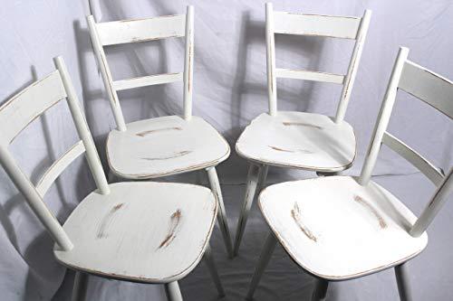 4x Shabby Stuhl alter Holzstuhl/Stuhl/Bauernstuhl/Küchenstuhl/Esszimmerstuhl creme weiß 60er Jahre Landhaus Vintage Shabby Chic Möbel 4er Set