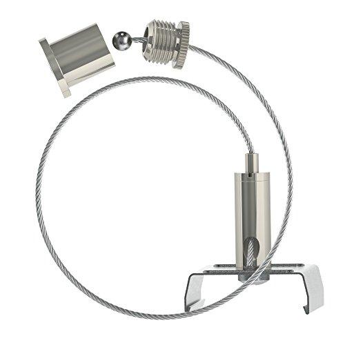 Abhängeset für Eutrac - Stromschienen;vernickelt; bestehend aus Deckenbefestiger mit Kappe; Drahtseil Ø1,5mm Länge1500mm, Drahtseilhalter