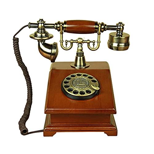 Teléfono Fijo Retro, Auriculares de Teléfono con Cable Clásicos para Teléfonos Fijos, Teléfono con Cable Antiguo con Dial Giratorio Vintage, (Oficina en Casa, Decoración de Hotel Estrella)