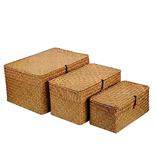 VIOYO Woven Wicker Storage Bins Basket Sets For Shelves, Set Of 3 Different Sizes, Multipurpose Container With Lid