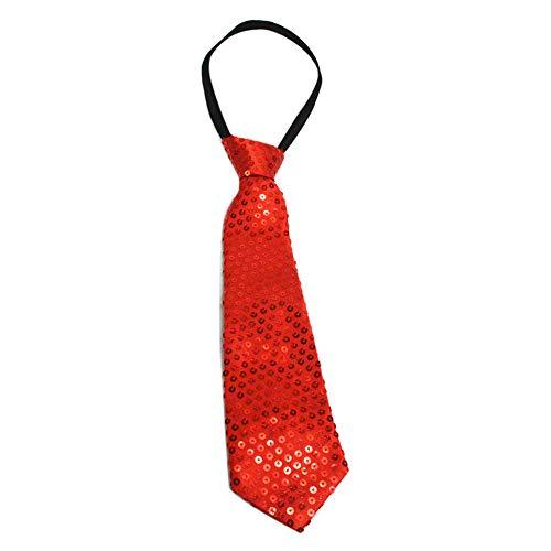 JUNGEN Corbata Informal de Hombres Corbata de Lentejuelas Brillante Corbata de Moda para Fiesta y Performance de Escenario Size 35cm (Rojo)