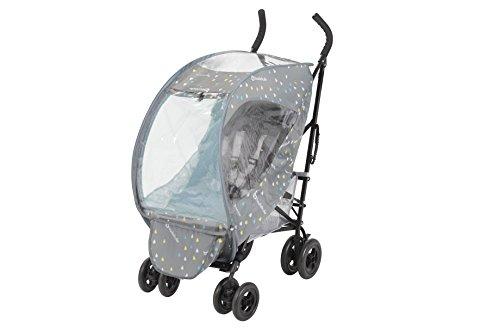 Badabulle B041401 Universal Regenschutz für Buggys 2-in-1, inklusive Moskitonetz zum Schutz vor Insekten, Pop-Up Faltung, grau