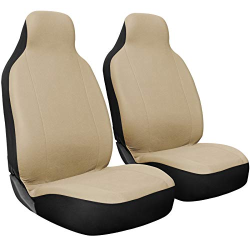 OxGord Car Seat Cover - Poly Cloth Beige with Front Low Bucket Seat - Universal Fit for Cars, Trucks, SUVs, Vans - 2 pc Set