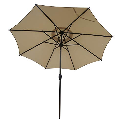 Abba Patio 9 ft Patio Umbrella Outdoor Market Table Umbrella with Push Button Tilt and Crank for Garden, Lawn, Deck, Backyard & Pool, 8 Sturdy Steel Ribs, Beige