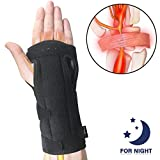 Wrist Brace Carpal Tunnel for Night, Comfortable and Adjustable Wrist Support with Soft Cushion for Sleep, Hand Brace with Splint for Wrist Pain, Fit for Both Left Hand and Right Hand - Single