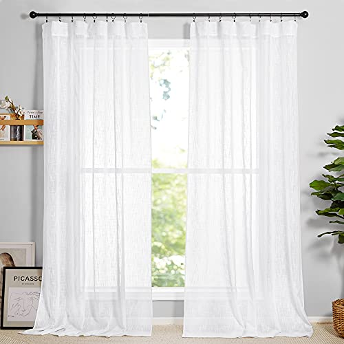 RYB HOME Sheer Linen Textured Curtains Semi Sheers Drapes Light Airy Breathable Fabric Window Decor for Patio Door Living Room Dining, White, 70 inch Width x 95 inch Length, 2 Panels