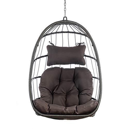 zbtrade Hanging Chair,Swing Chair with Cushion and Pillow Hammock Hanging Rocker Chair Home Decor Leisure Tool Furniture Indoor Outdoor Bedroom Garden Dark Gray