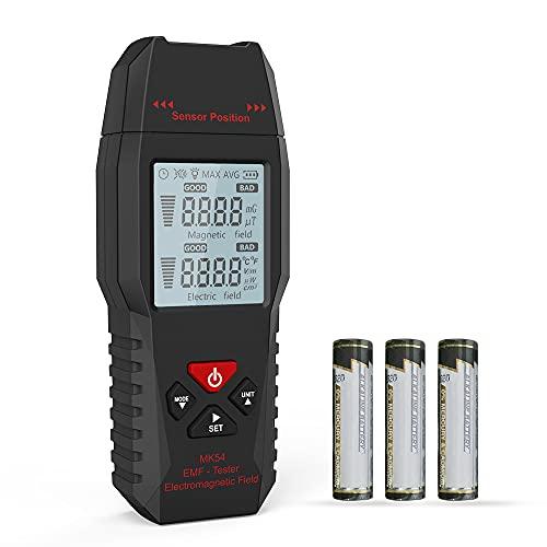 Meroteen Medidor EMF,Detector de Radiación de Campo Electromagnético,Comprobador electromagnético de Equipos paranormales,Mini Digital LCD Detector de EMF con 3 * Baterías