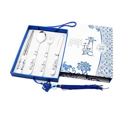 Blauwe en witte porseleinen servies set van vier stukken mes, vork, lepel, eetstokjes zakenkado servies