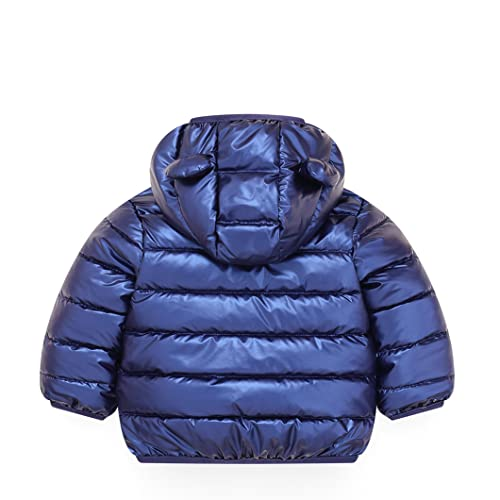 JiAmy Bebé Chaqueta Invierno Abrigo con Capucha Ligero Trajes Ropa de Calle Acolchado Azul 100cm