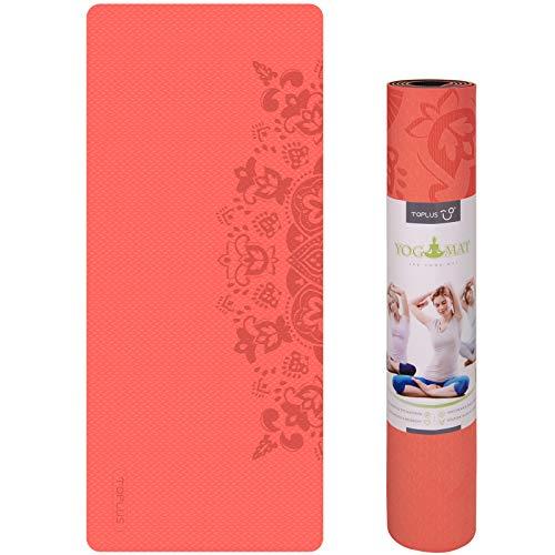 Toplus Esterilla antideslizante de TPE, para yoga, pilates, fitness, 183 x 61 x 0,6 cm, rojo y negro