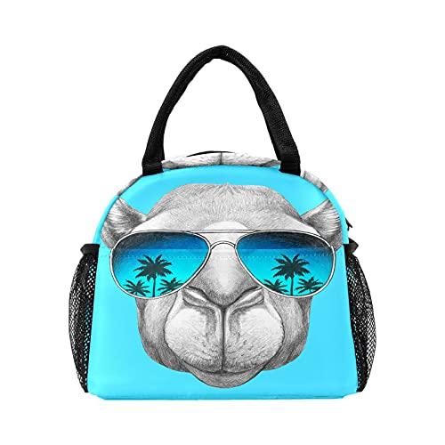 Bolsa de almuerzo para mujeres y hombres, divertida Alpaca Llama con gafas aisladas reutilizable caja de almuerzo térmica térmica bolsa para el trabajo, picnic, senderismo, viajes, playa
